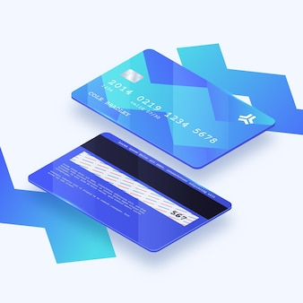 Isometrische abstracte creditcardsjabloon