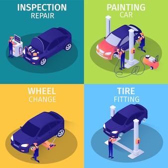 Isometrische advertentiekaarten instellen voor autoservice.