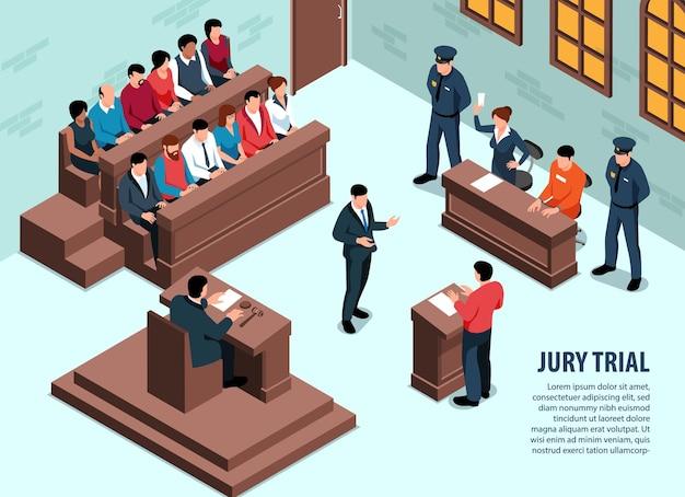 Isometrische advocaat horizontale achtergrond met binnenaanzicht van de rechtbank in zitting met mensen en bewerkbare tekst