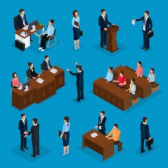 Isometrische advocatencollectie met advocaat die met cliënt spreekt die toespraak houdt over geïsoleerde rechtbank juryrechtspraak