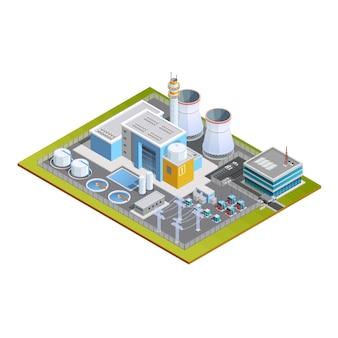 Isometrische afbeelding van kerncentrale