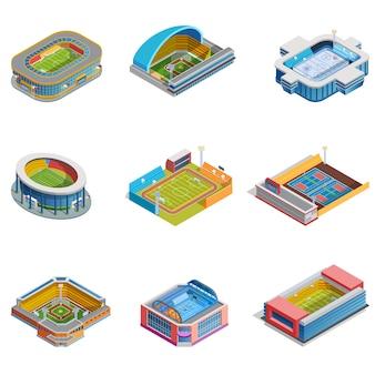 Isometrische afbeeldingen stadions ingesteld