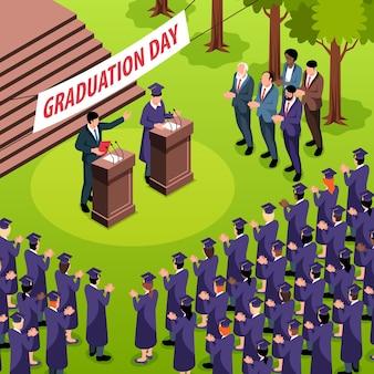 Isometrische afstudeercompositie met menigte studenten in hoeden en sprekers op tribunes met tekstbordje