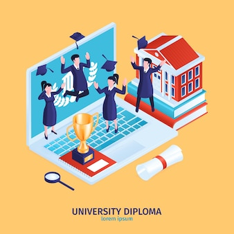 Isometrische afstuderen diploma samenstelling met kleine menselijke karakters bovenop laptop computertoetsenbord met tekst