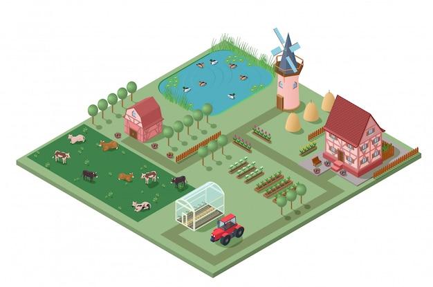 Isometrische agrarische landbouw concept
