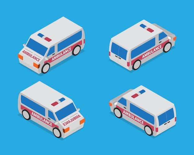 Isometrische ambulance auto kaart element vector