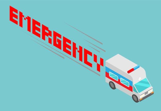 Isometrische ambulance met emergency woordontwerp