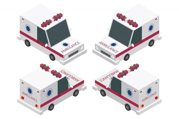 Isometrische ambulance set geïsoleerd op een witte achtergrond