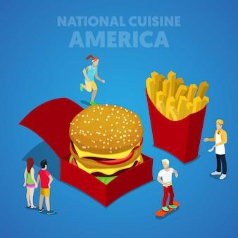 Isometrische amerikaanse nationale keuken met fastfood en amerikaanse mensen. vector 3d platte illustratie