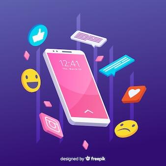 Isometrische antigravity mobiele telefoon