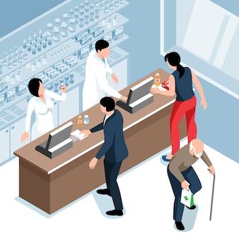 Isometrische apotheeksamenstelling met binnenaanzicht van apothekerswinkel met apothekers aan de balie en kopersbezoekers