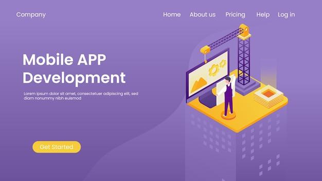 Isometrische app-ontwikkelingsconcept, programmering van bannersoftware