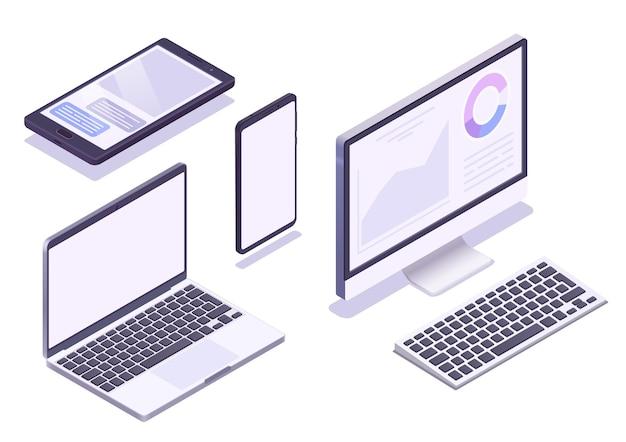 Isometrische apparatenset. monitor, laptop, tablet, smartphone