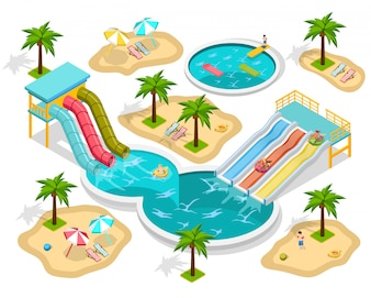 Isometrische Aqua Park-samenstelling
