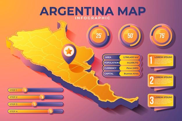 Isometrische argentinië kaart infographic