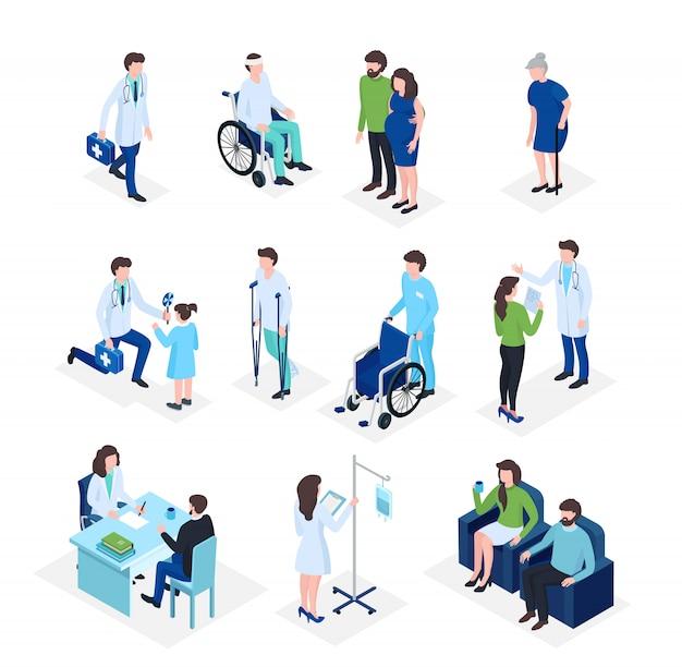 Isometrische artsen en patiënten medische gezondheidszorg, medicijnen verzekering in het ziekenhuis, dokters personeel platte 3d illustratie.
