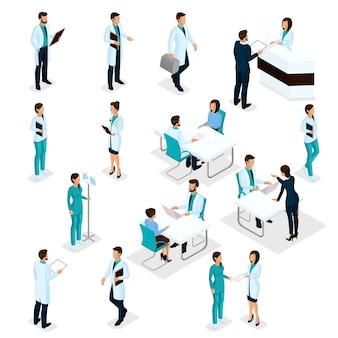 Isometrische artsen ziekenhuispersoneel instellen verpleegkundige 3d-chirurgen en patiënten