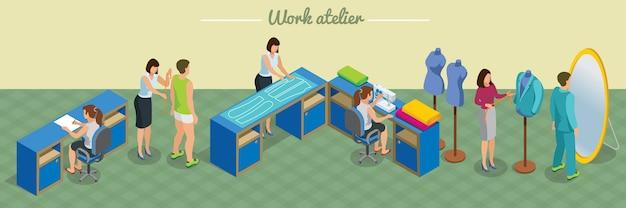 Isometrische atelierstudio-banner met kleermaker neemt metingen van naai- en paspakprocessen van klanten