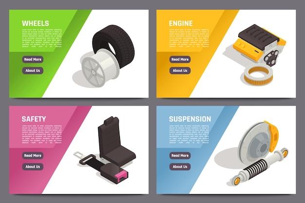 Isometrische auto-onderdelen webbanner set