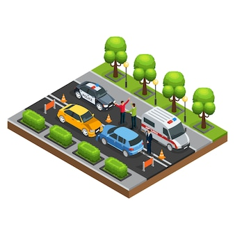 Isometrische auto-ongeluk concept