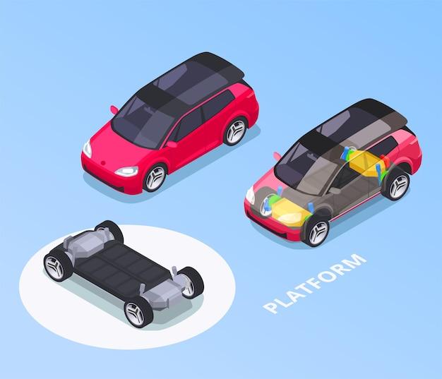 Isometrische auto-ontwerpset met platformillustratie