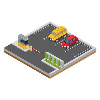 Isometrische auto op de parkeerplaats met illustratie van bomen