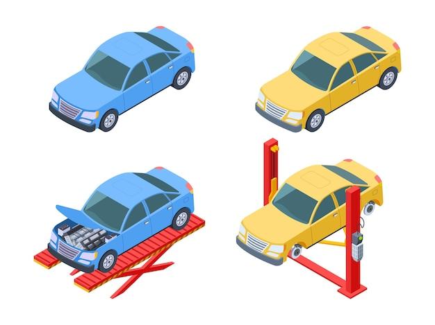 Isometrische auto reparatie set