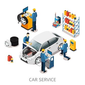 Isometrische auto reparatiecentrum concept