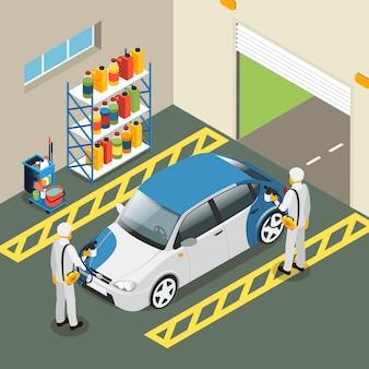 Isometrische auto schilderij dienstverleningsconcept