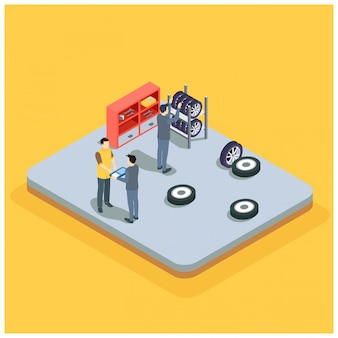 Isometrische auto service auto diagnostiek en reparatie