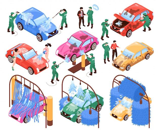 Isometrische auto wassen diensten set van geïsoleerde afbeeldingen werknemers in uniform en auto's