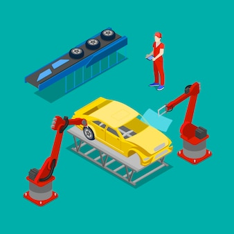Isometrische autoproductie. lopende band van auto in autofabriek.