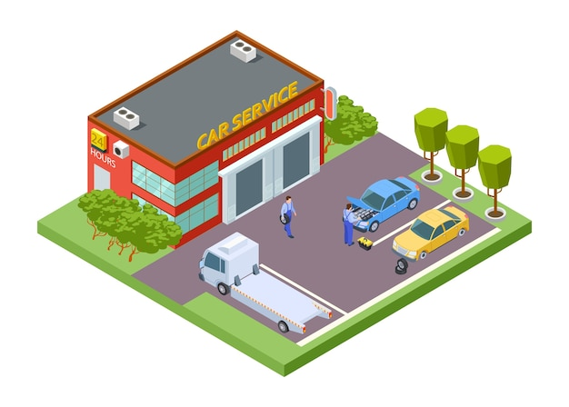 Isometrische autoservice locatie