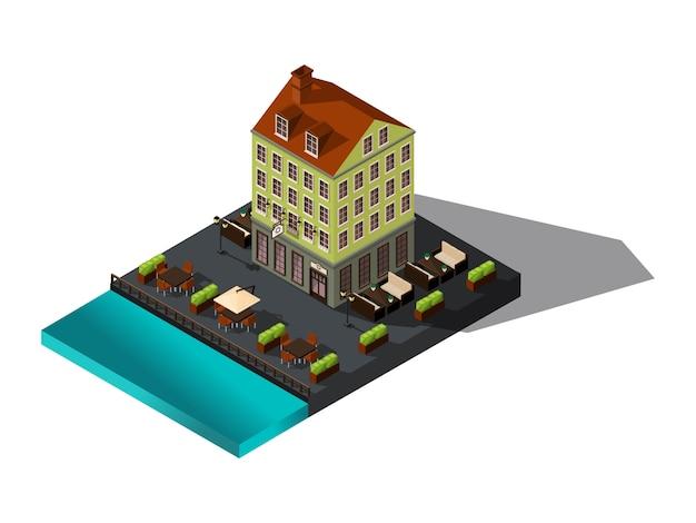 Isometrische badge, huis aan zee, restaurant, denemarken, kopenhagen, parijs, historische stadscentrum, oud hotelgebouw voor illustraties