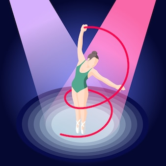 Isometrische ballerina met lint