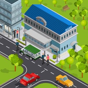 Isometrische bank buitenkant met auto's