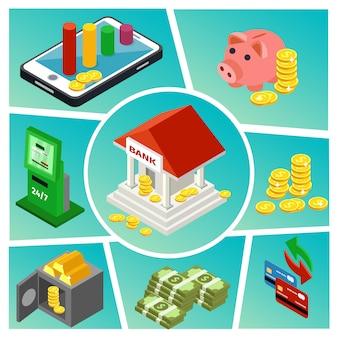 Isometrische bank- en financiële samenstelling met online betalingen die spaarvarkenmunten, geld, goudstaven, creditcards, geldautomaat bouwen