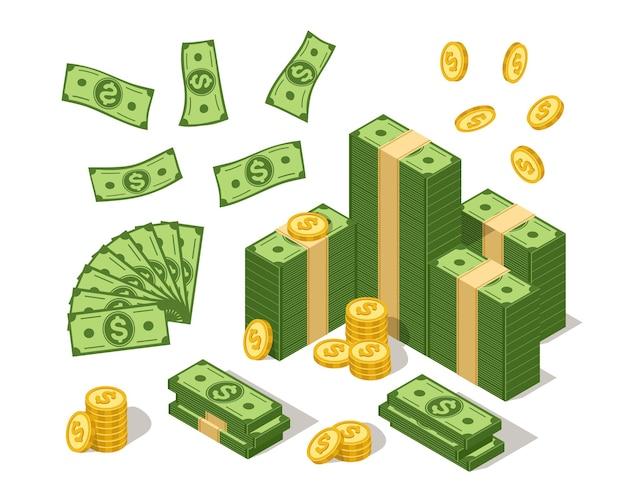 Isometrische bankbiljetten en munten. amerikaanse valuta dollars en gouden munt, cartoon contant geld met amerikaans dollar symbool.