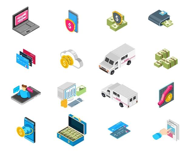 Isometrische bankpictogrammen die met illustratie van geldautomaten en geldautomaten worden geplaatst