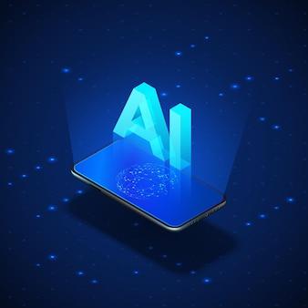 Isometrische banner ai-concept. realistische mobiele telefoon met kunstmatige intelligentie van ai.