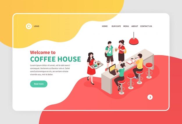 Isometrische banner met barista en mensen die bij barteller eten in 3d koffiehuis