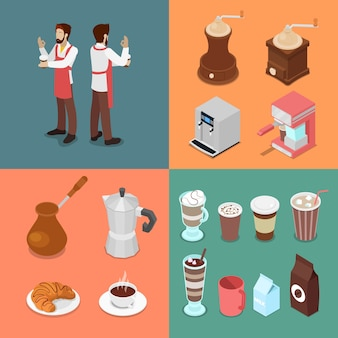 Isometrische barman en café-elementen instellen