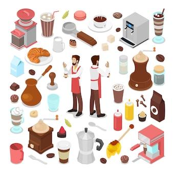 Isometrische barman en koffie cafe elements-collectie
