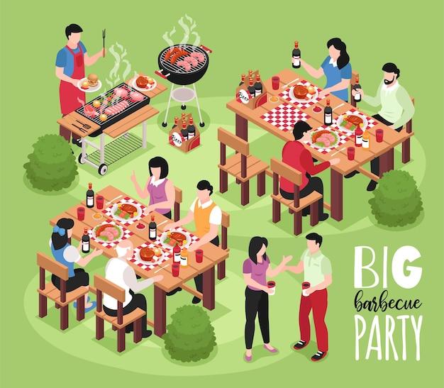 Isometrische bbq-barbecuesamenstelling met uitzicht op een buitenfeest met menselijke karakters, tafels, stoelen en grillillustratie