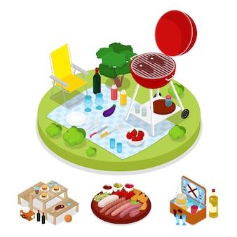 Isometrische bbq-picknick partij illustratie