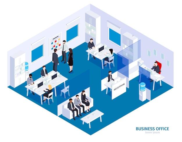 Isometrische bedrijfsbureausamenstelling met uitzicht op toneelgebouw met karakters van bedrijfsmedewerkers op het werk