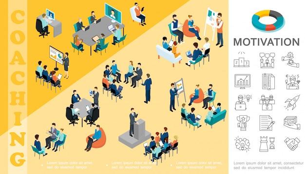 Isometrische bedrijfseducatie samenstelling met medewerkers nemen deel aan conferentie coaching seminar brainstormen overleg motivatie lineaire pictogrammen