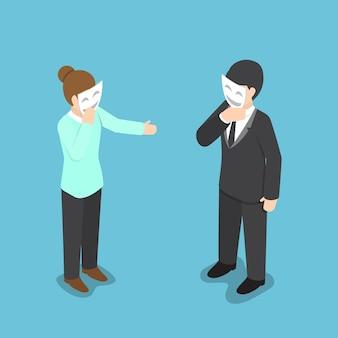 Isometrische bedrijfsmensen die hun gezicht behandelen met glimlachend masker