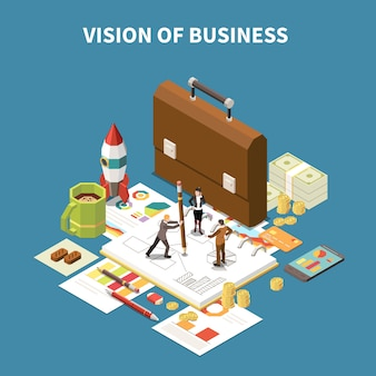 Isometrische bedrijfsstrategiesamenstelling met visie van bedrijfsbeschrijving en abstracte elementenillustratie