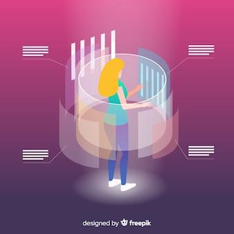 Isometrische bedrijfstechnologie met vrouw op projectiescherm